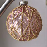 Grote luxe roze kerstbal Gamila
