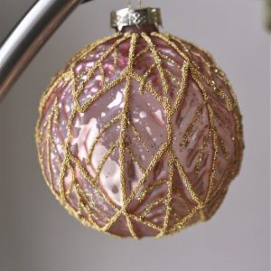 Grote luxe roze kerstbal Gamila