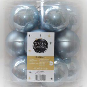 Blauwe glazen kerstballen 15st