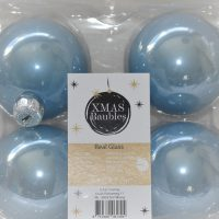 Blauwe glazen kerstballen 4st