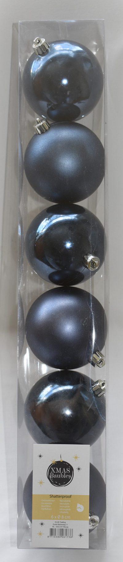 Blauwe kunststof kerstballen