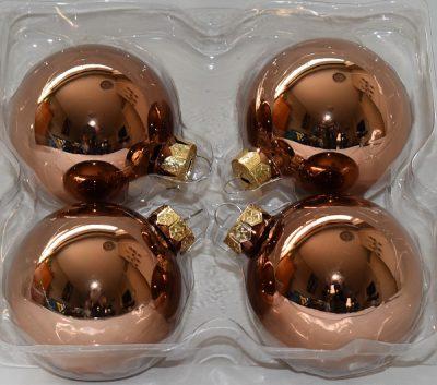 Glazen bronzen kerstballen 4st