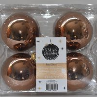 Bronzen glazen kerstballen 4st