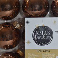 Bronzen glazen kerstballen 9st