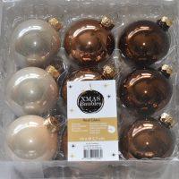 Bronzen glazen kerstballen megabox 18st