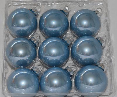 Blauwe glazen kerstballen 9st