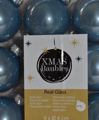 Lichtblauwe glazen kerstballen 9st