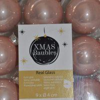 Roze glazen kerstballen 9st